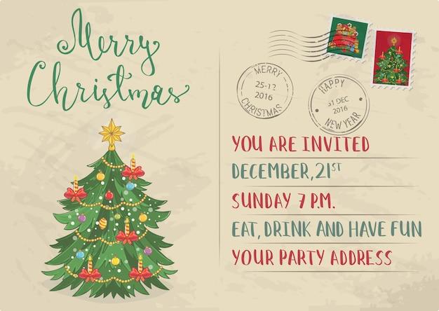 Convite do natal vintage com selos postais Vetor Premium