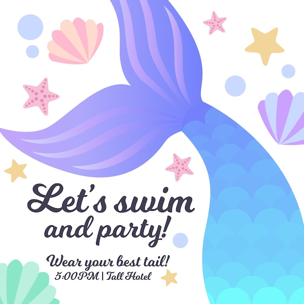Convite do partido da sereia Vetor Premium