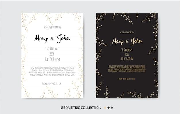 Convite dourado com elementos florais. Vetor Premium