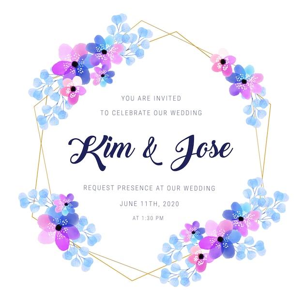 Convite dourado do casamento do quadro da aguarela Vetor grátis