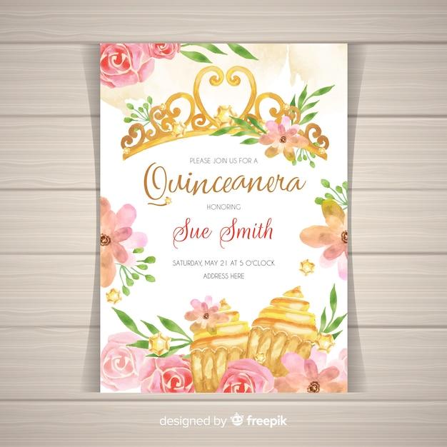 Convite dourado e floral do partido do quinceañera Vetor grátis
