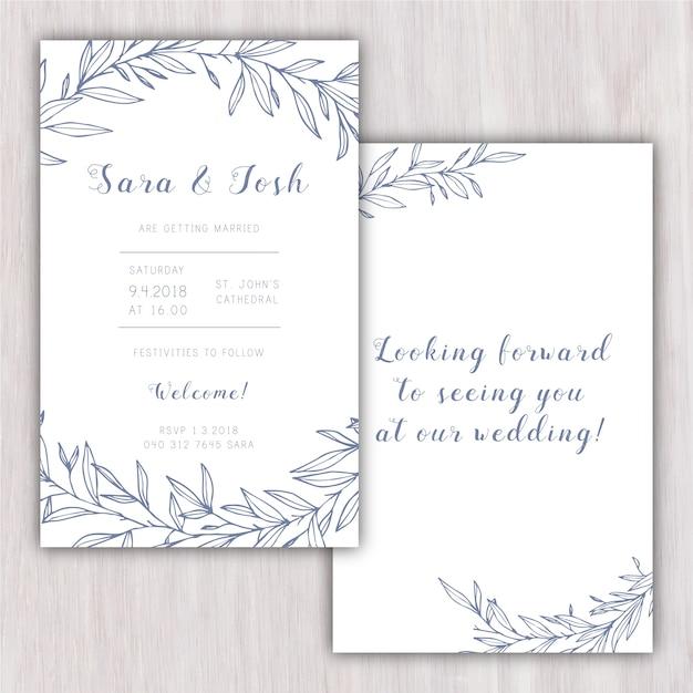 Convite elegante do casamento com elementos desenhados mão Vetor grátis