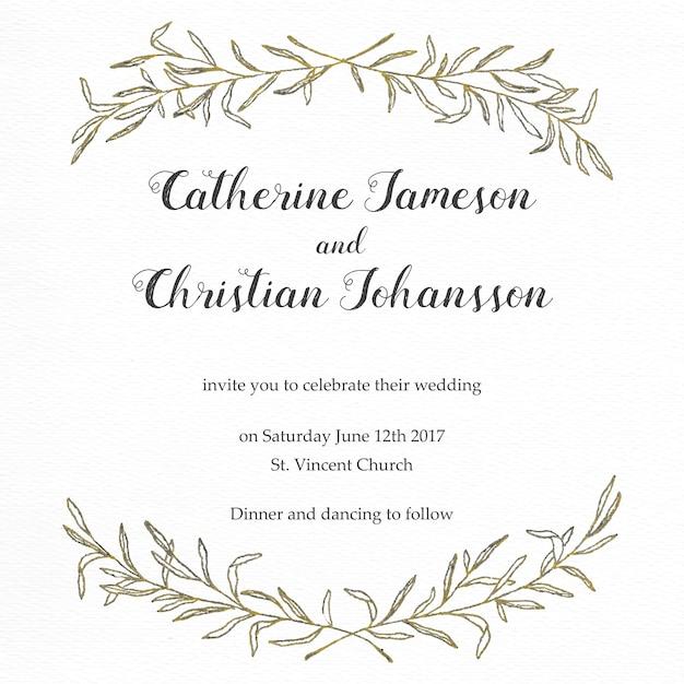 convite elegante do casamento com folhas douradas do vintage Vetor grátis