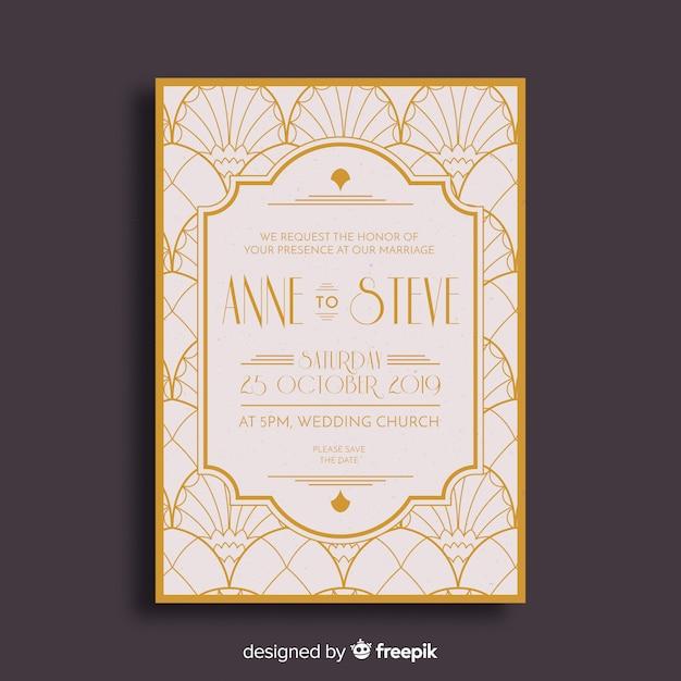 Convite elegante do casamento do art deco Vetor grátis
