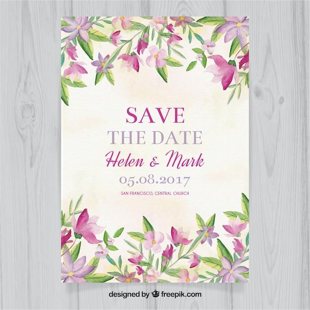 Convite floral de casamento de aquarela Vetor grátis