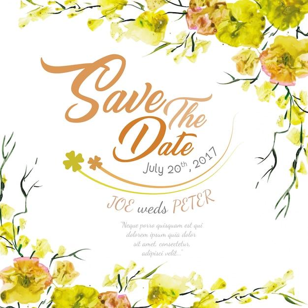 Convite floral do casamento com aguarela amarela Vetor grátis