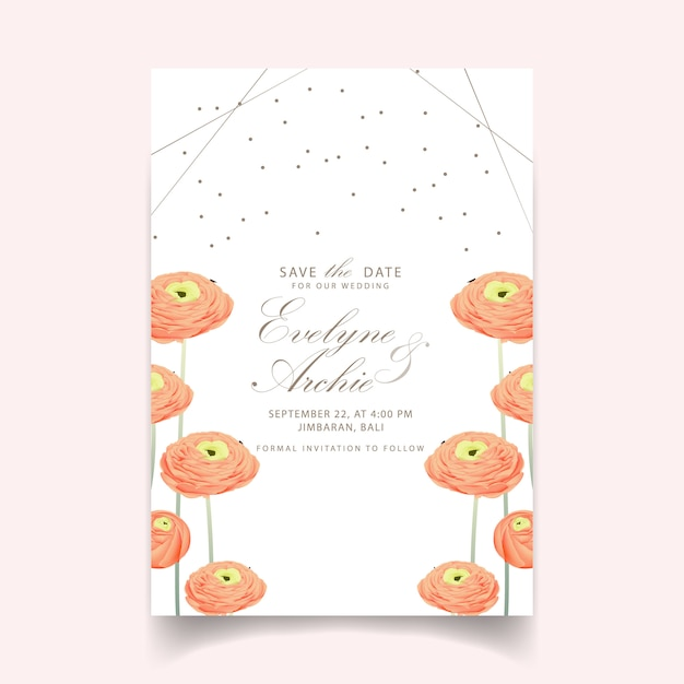 Convite floral do casamento com flor do ranúnculo Vetor Premium