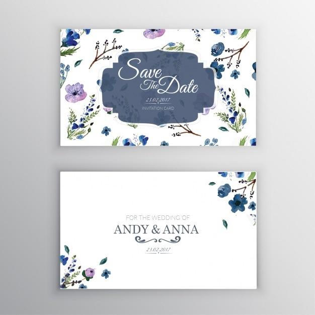 Convite floral do casamento Vetor grátis
