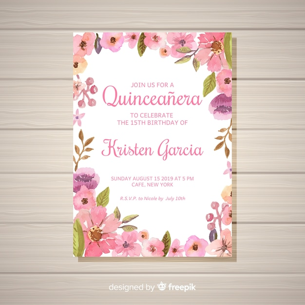 Convite floral do partido do quinceañera Vetor grátis