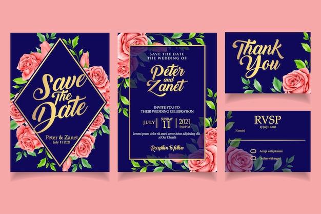 Convite floral elegante da aguarela festa de modelo de cartão de casamento Vetor Premium