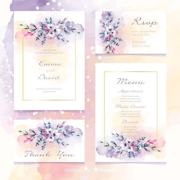 Convite floral romântico dos artigos de papelaria do casamento Vetor grátis
