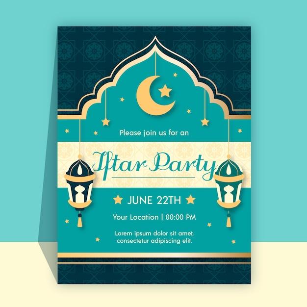 Convite iftar plana com lua crescente Vetor grátis