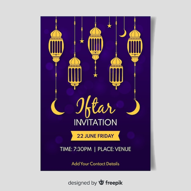 Convite iftar plano Vetor grátis