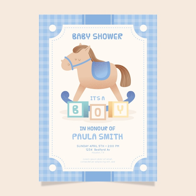 Convite ilustrado chá de bebê para menino Vetor grátis