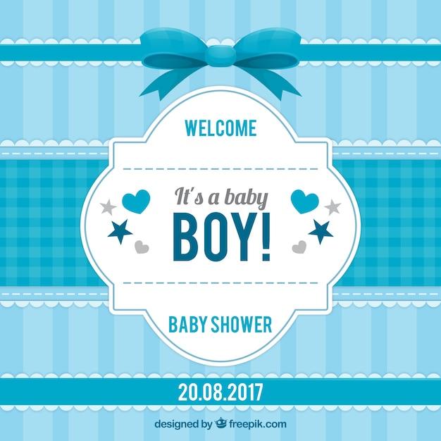 Convite listrado do chuveiro do bebê em tons de azul Vetor grátis