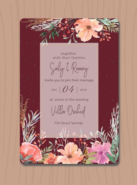 Convite marrom com aquarela flor Vetor Premium
