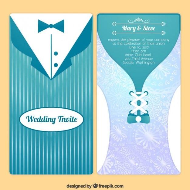 Convite moderno do casamento Vetor grátis
