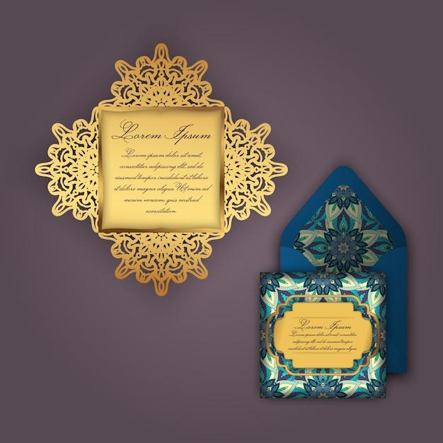 Convite ou cartão de casamento com ornamento floral vintage Vetor Premium