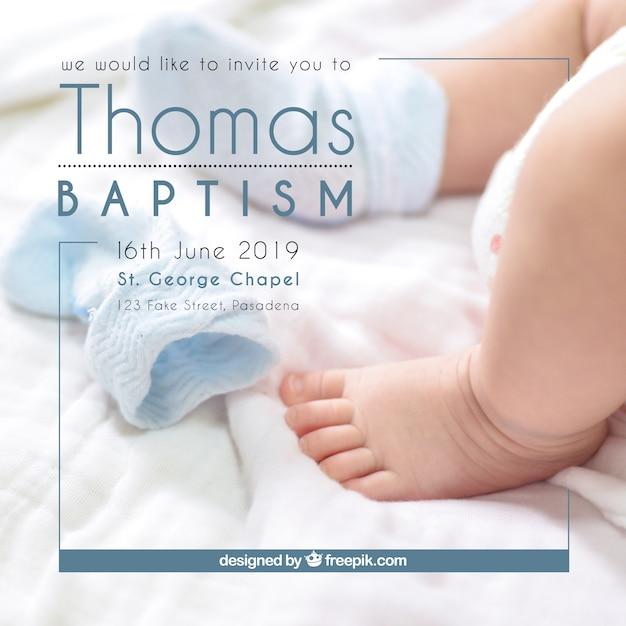 Convite Para Batismo Estilo Simples Baixar Vetores Grátis