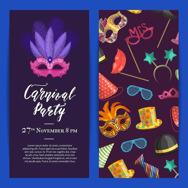 Convite para festa com máscaras e acessórios para festa Vetor Premium