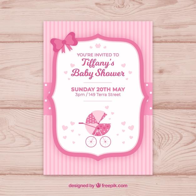 Convite para festa de bebê em estilo plano Vetor grátis