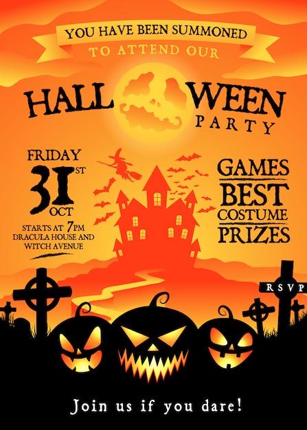 Convite para festa de halloween Vetor Premium