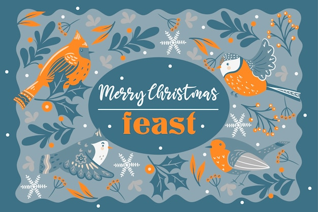Convite para festa de natal. pássaros e galhos de inverno. Vetor Premium