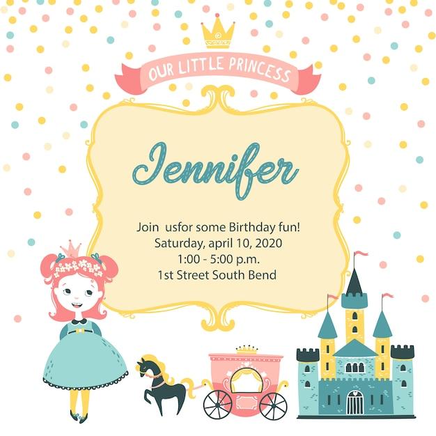 Convite para festa de princesa cartão de convite de aniversário bonito Vetor Premium
