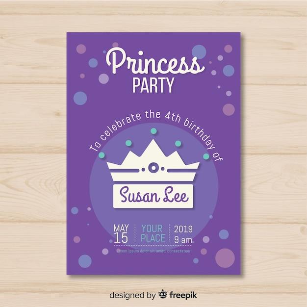 Convite para festa de princesa plana Vetor grátis