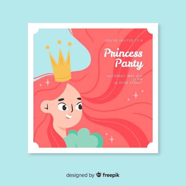 Convite para festa de princesa Vetor grátis