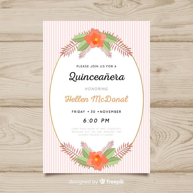 Convite para festa de quinceañera Vetor grátis