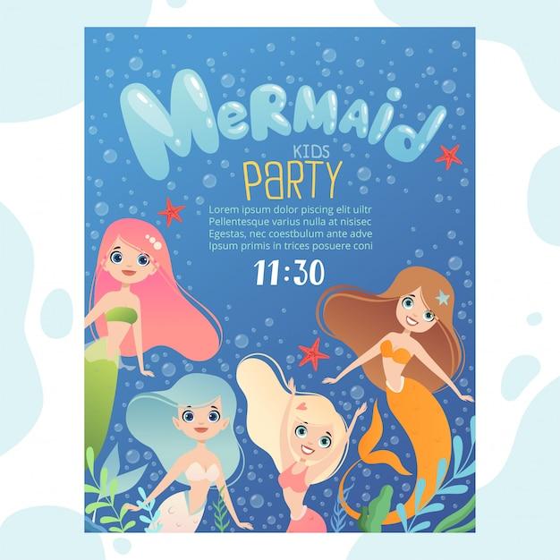 Convite para festa de sereia modelo de design convidar crianças cartões de aniversário com personagens engraçados debaixo d'água peixes e jovem sereia princesa Vetor Premium