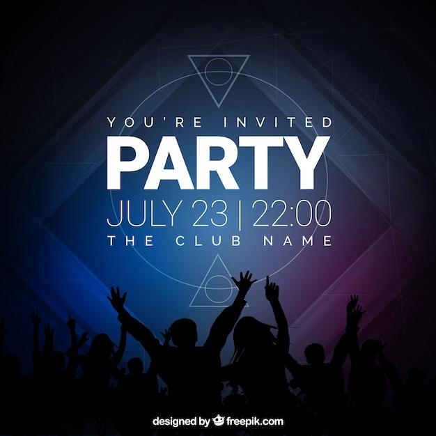 Convite para festa, tons escuros Vetor grátis