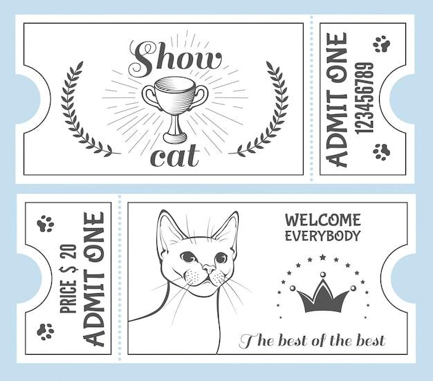Convite para ingresso no show de gatos. Vetor Premium