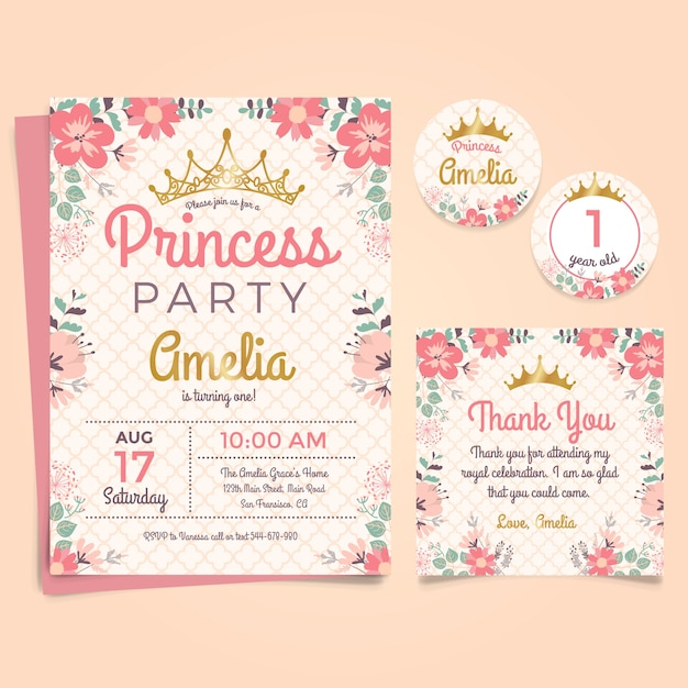 Convite Princesa do aniversário com coroa e flores Vetor grátis
