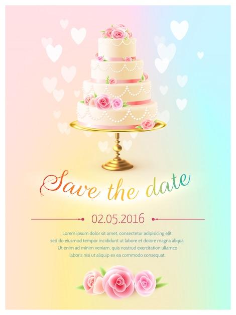 Convite realístico do bolo do cartão de casamento Vetor grátis