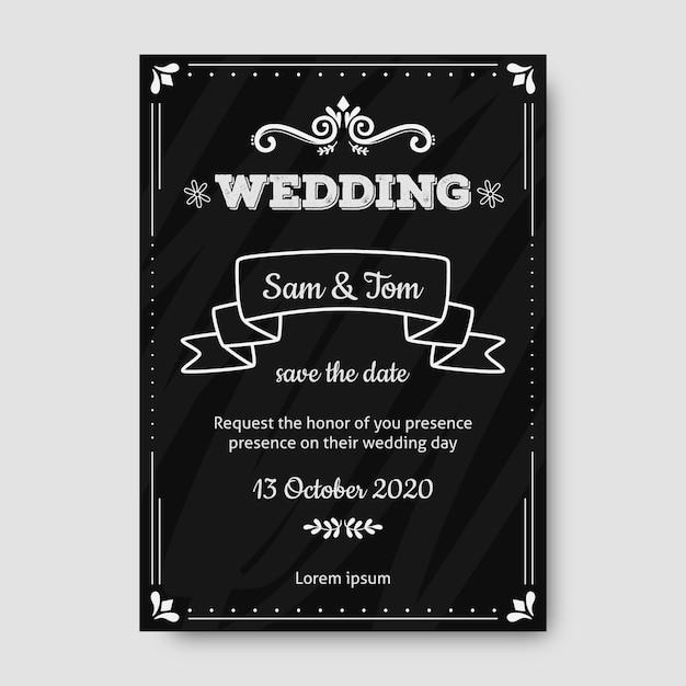 Convite retrô de casamento modelo Vetor grátis