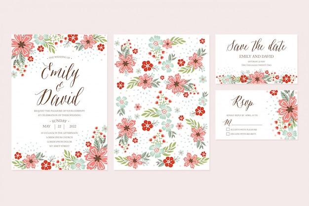 Convite tirado mão do casamento da flor da mola, obrigado cardar, rsvp, salvar a data. modelos imprimíveis com floral, coleção de flores Vetor Premium