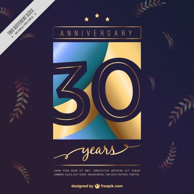 Convite trigésimo aniversário com folhas Vetor grátis