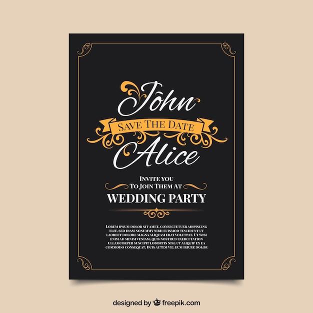 Convite weding vintage com estilo elegante Vetor grátis