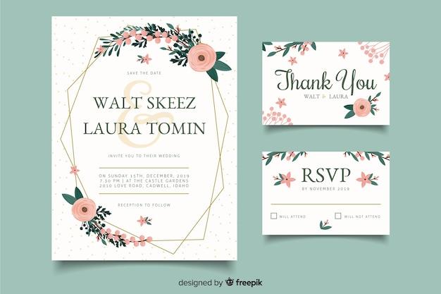 Convites de cartão de casamento de celebração Vetor grátis