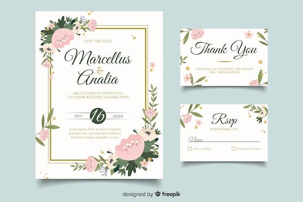 Convites de cartão de casamento fofo com design plano Vetor grátis