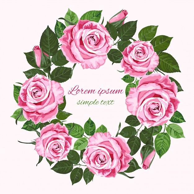 Convites de casamento com coroa de rosas sobre o branco Vetor Premium