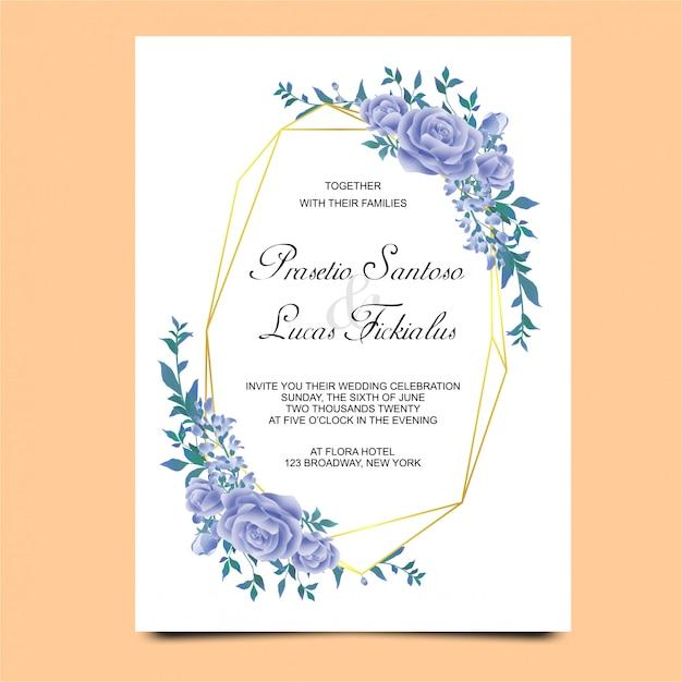 Convites de casamento com enfeites de flor azul Vetor Premium