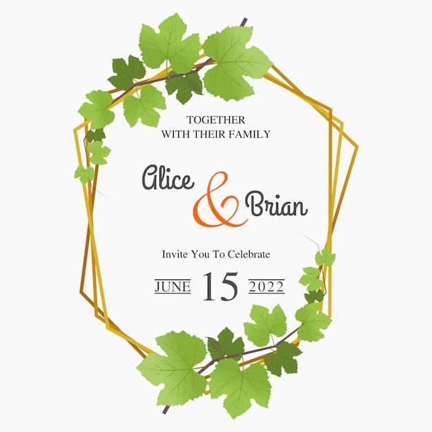 Convites de casamento floral com decorações de folha de uva Vetor Premium
