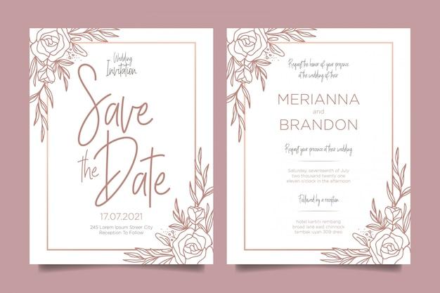 Convites de casamento modernos com decorações florais Vetor Premium