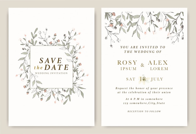 Convites de casamento salvar o cartão de data com elegante anêmona de jardim. Vetor Premium