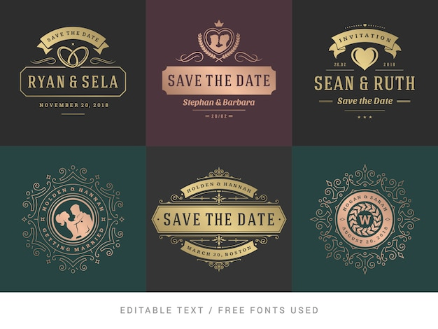 Convites de casamento salvar o conjunto de vetores de títulos de data. Vetor Premium