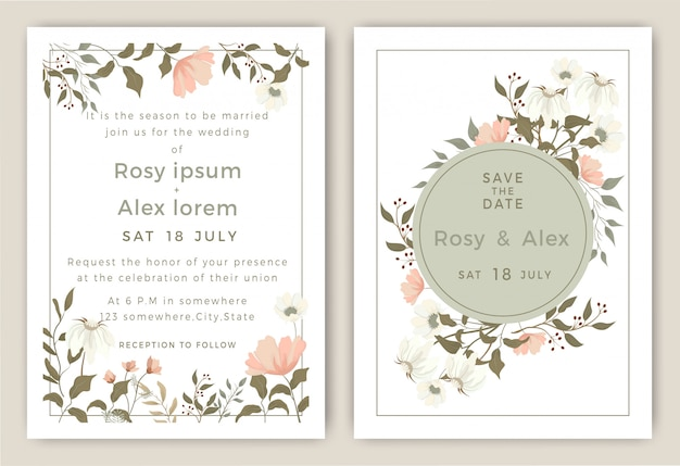 Convites de casamento salvar o design de cartão de data com elegante anêmona de jardim. Vetor Premium