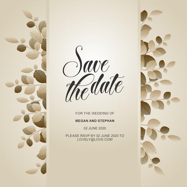 Convites florais elegantes do casamento Vetor Premium